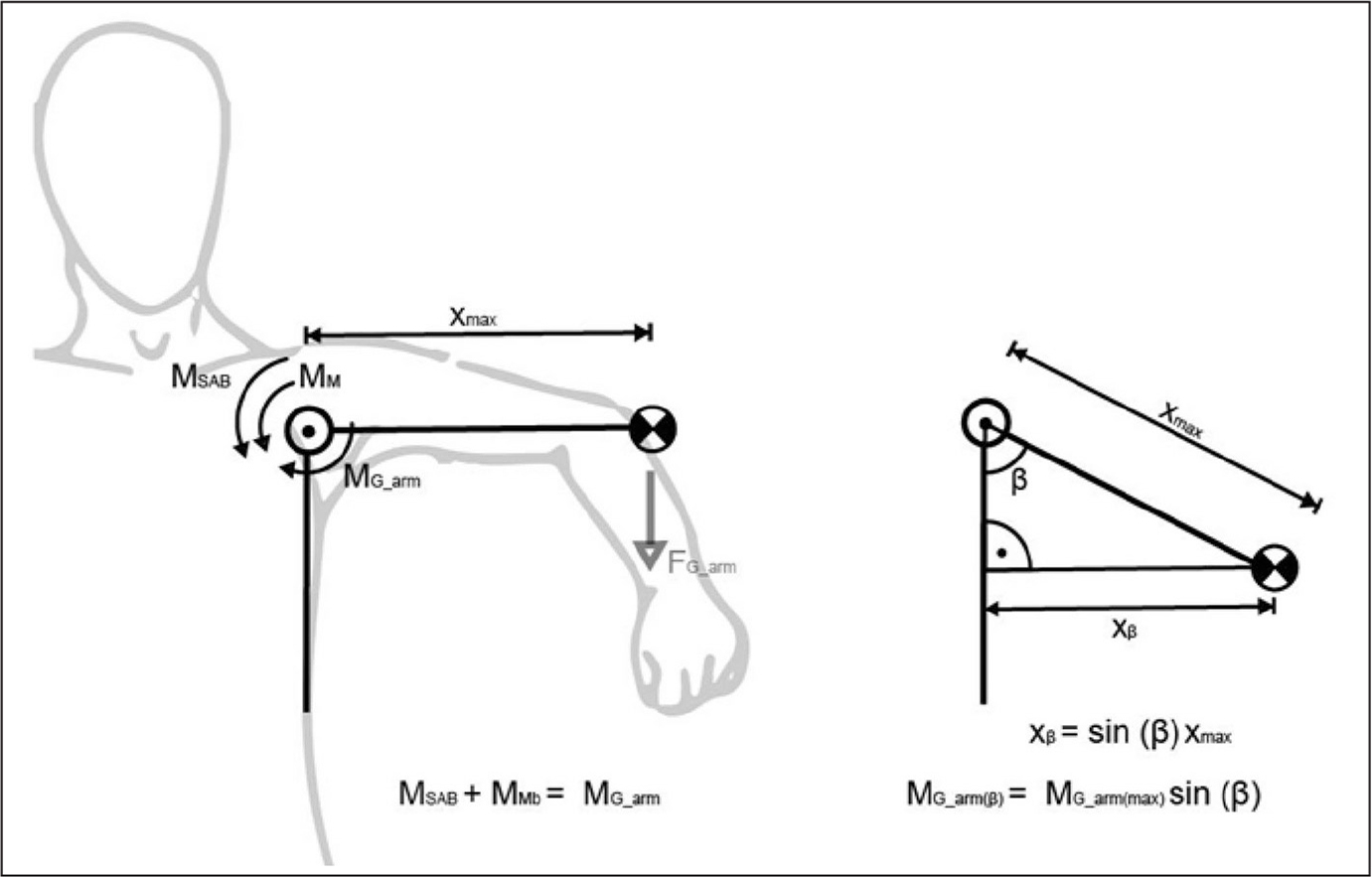 Calculation of muscular abduction moment. MSAB is the measured moment from the shoulder abduction brace. MM is the moment generated by shoulder muscles. MG_arm represents the moment generated by the patient's arm weight (FG_arm). Moment MG_arm is dependent on the lever arm x (distance to the glenohumeral joint and the arm's center of mass) and the arm mass. In a 90° configuration, it can be assumed that the lever arm x has reached its maximum length (xmax). By means of trigonometry, a theoretical moment MG_arm can therefore be calculated for other angles beta (30°, 50°, and 70°). By rearranging the sum of the moment equation, the theoretical moment generated by the muscles MM can therefore be calculated.