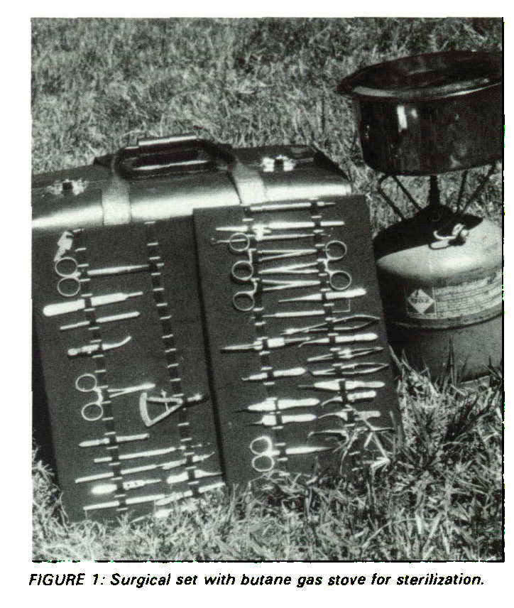 FIGURE 7: Surgical set with butane gas stove for sterilization.