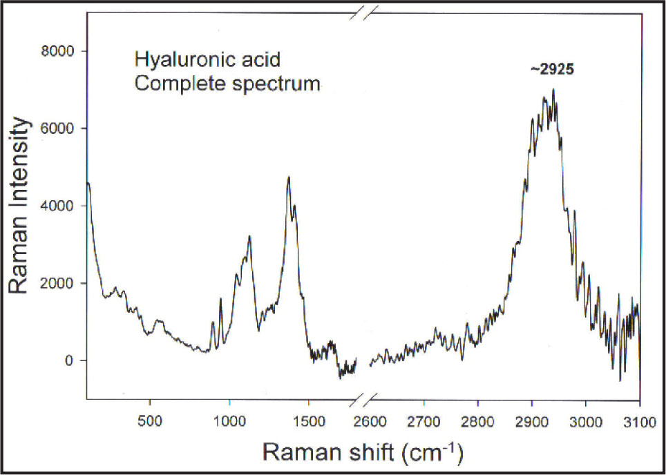 Raman Spectroscopy, Which Analyzes the Characteristic Vibrational Frequencies of Compounds, of Sodium Hyaluronate. Notice Characteristic Vibrational Frequency at 2925 cm−1