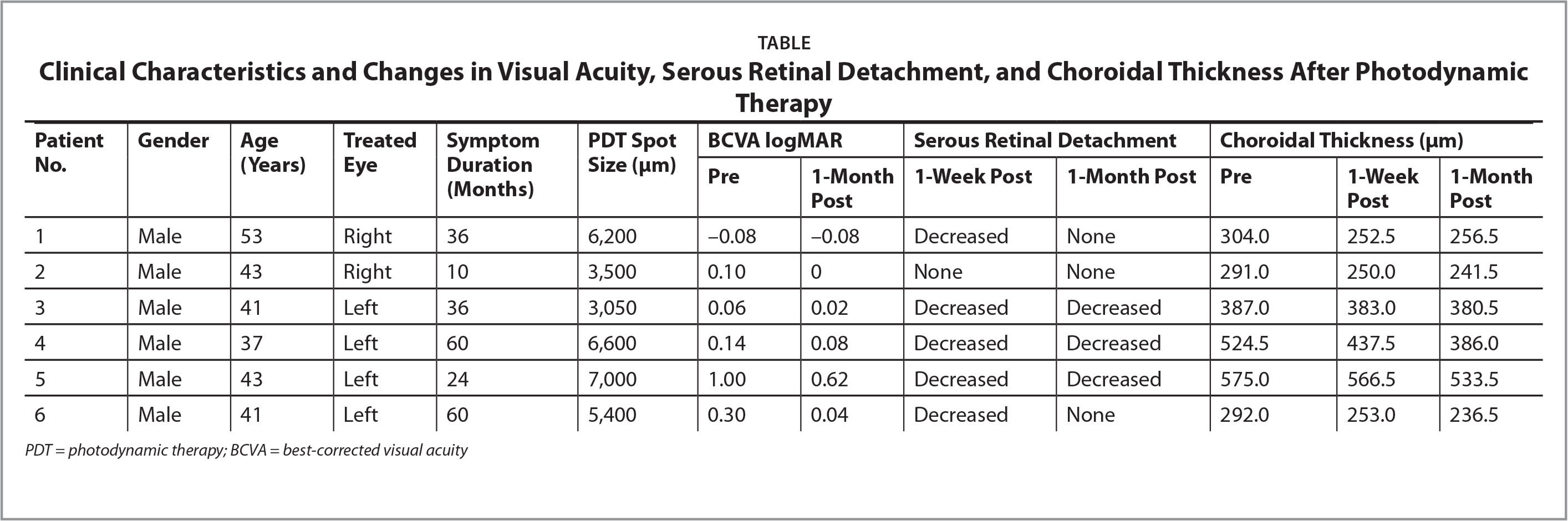 A;Clinical Characteristics and Changes in Visual Acuity, Serous Retinal Detachment, and Choroidal Thickness After Photodynamic Therapy