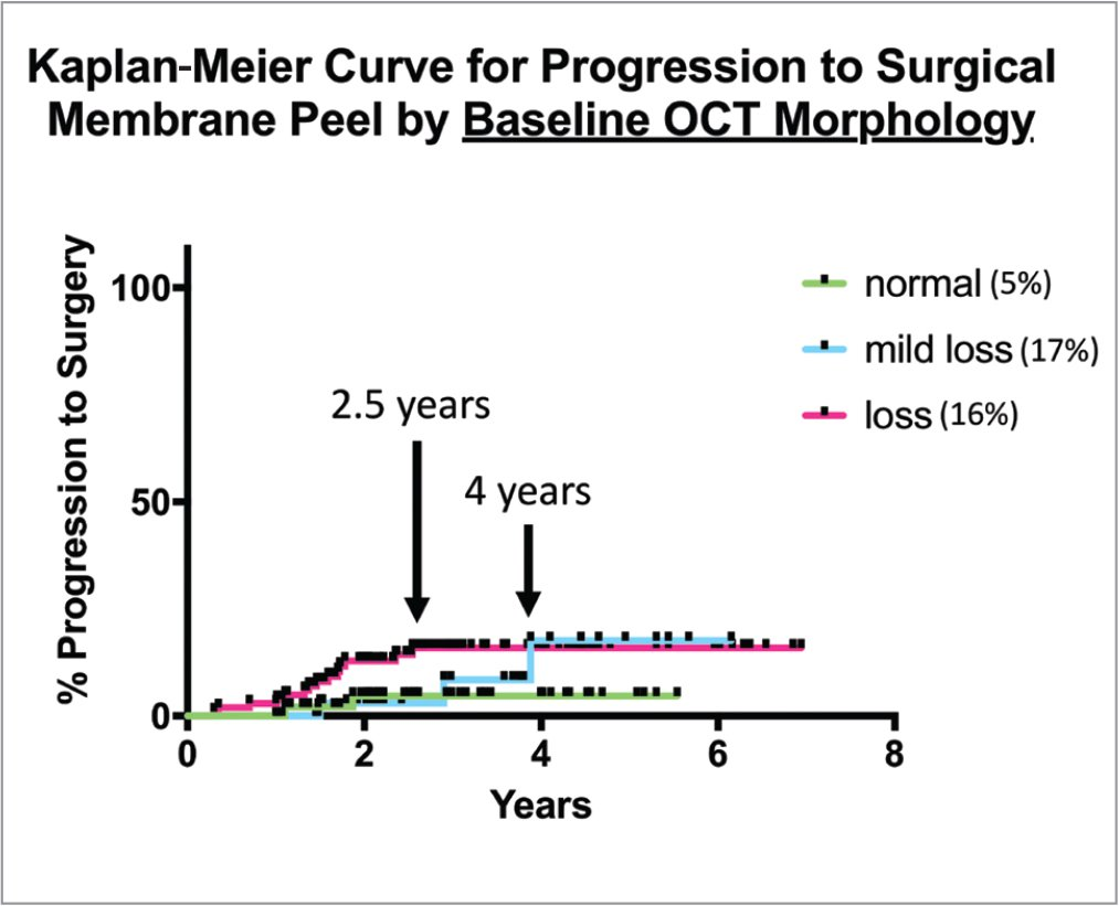 Kaplan-Meier survival curves for all 201 eyes separated by baseline optical coherence tomography morphology. Only 5% of eyes with normal foveal contours progressed to surgery at 5.5 years, whereas approximately three times as many eyes with mild or complete loss of foveal contours progressed to surgery in a similar time frame. Additionally, when comparing the rate of progression, eyes with complete loss of the foveal contour progressed faster than eyes with mild loss of the contour.