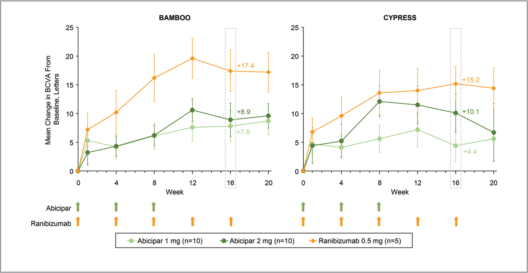 Mean change from baseline in best-corrected visual acuity (BCVA) at each visit in the BAMBOO and CYPRESS studies. The primary endpoint was at week 16. Green and orange arrows indicate treatment with abicipar and ranibizumab, respectively. Missing data were imputed with the last observation carried forward. Errors bars indicate standard error of the mean.