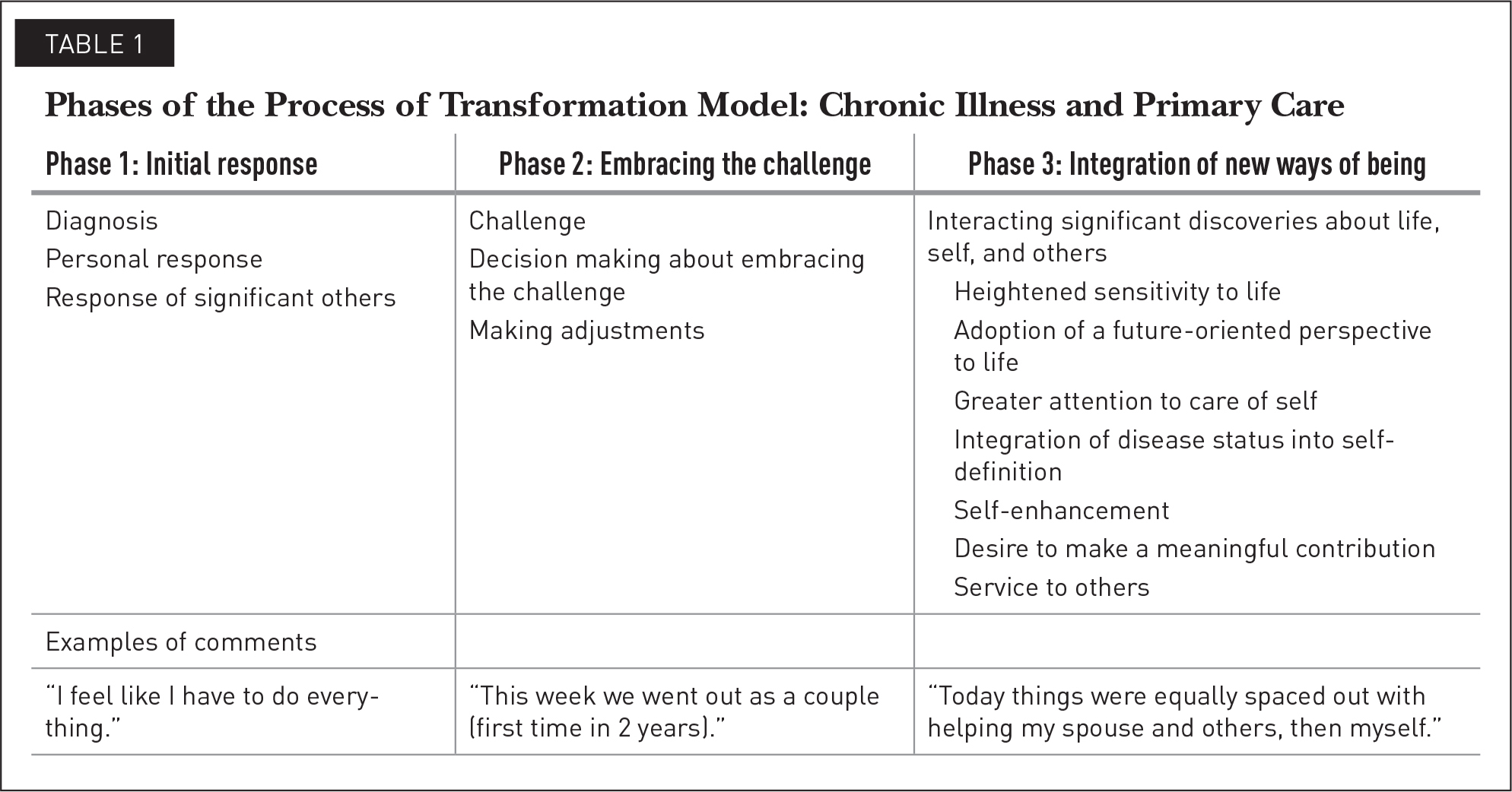 Phases of the Process of Transformation Model: Chronic Illness and Primary Care