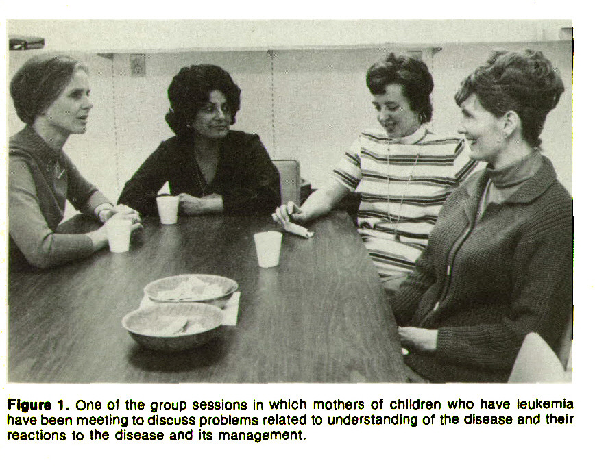 Figure 1. One of the group sessions in which mothers of children who have leukemia have been meeting to discuss problems related to understanding of the disease and their reactions to the disease and its management.