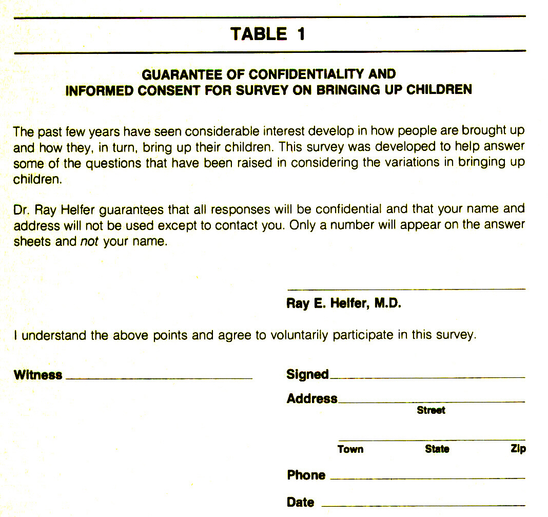 TABLE 1GUARANTEE OF CONFIDENTIALITY AND INFORMED CONSENT FOR SURVEY ON BRINGING UP CHILDREN