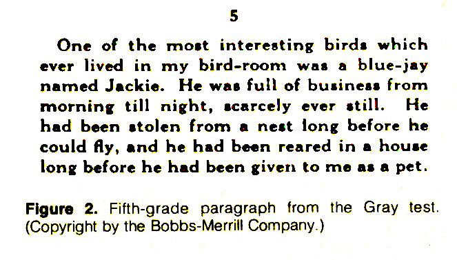 Figure 2. Fifth-grade paragraph from the Gray test. (Copyright by the Bobbs-Merrill Company.)