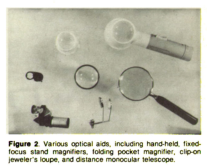 Figure 2. Various optical aids, including hand-held, fixedfocus stand magnifiers, folding pocket magnifier, clip-on jeweler's loupe, and distance monocular telescope.