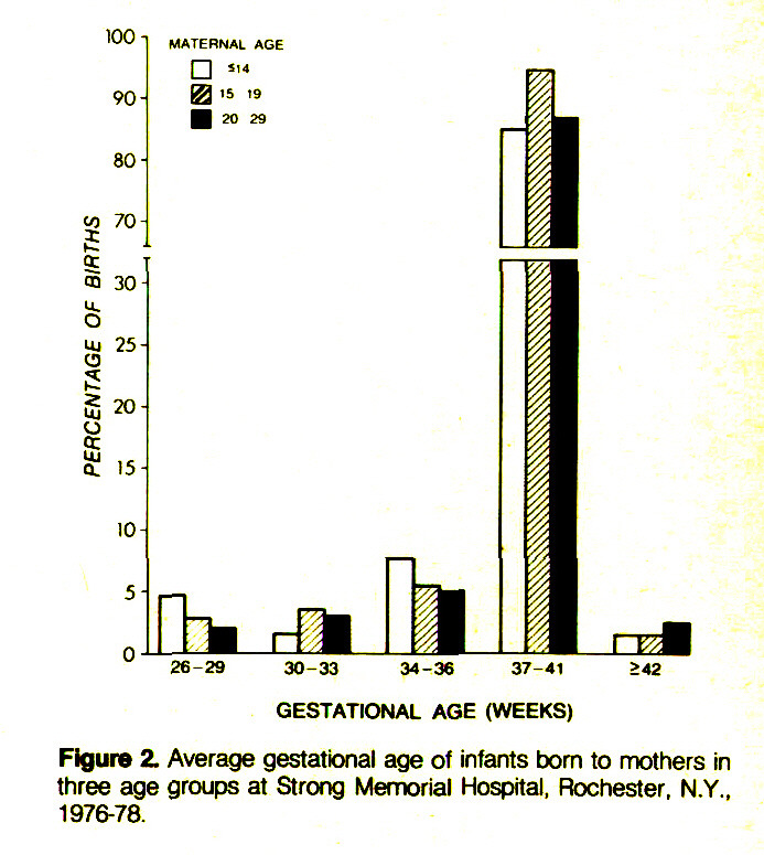 Figure 2. Average gestational age of infants bom to mothers in three age groups at Strong Memorial Hospital, Rochester, N.Y., 1976-78.