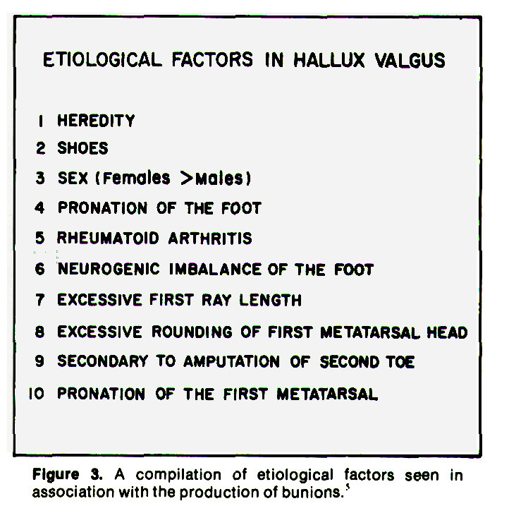Figure 3. A compilation of etiological factors seen in association with the production of bunions.5