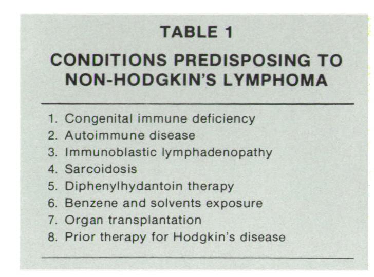 TABLE 1CONDITIONS PREDISPOSING TO NON-HODGKIN'S LYMPHOMA