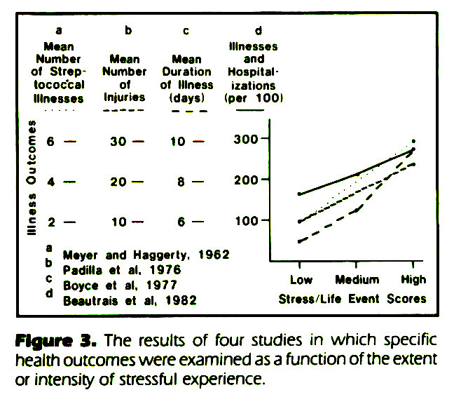 Figure 3. The results of four studies in which specific health outcomes were examined as a function of the extent or intensity of stressful experience.
