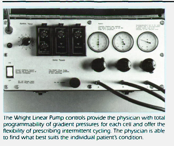 The Wnghc Linear Pump controls provide the physician with total programmability of grathent pressures for each cell and offer the flexibility of prescribing intermittent cycling. The physician is able to find what best suits the individual patient's condition.