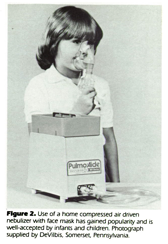 Figure 2. Use of a home compressed air driven nebulizer with face mask has gained popularity and is well-accepted by infants and children. Photograph supplied by DeVilbis, Somerset. Pennsylvania.