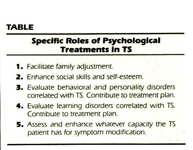 TABLESpecific Roles Of Psychological Treatments In TS