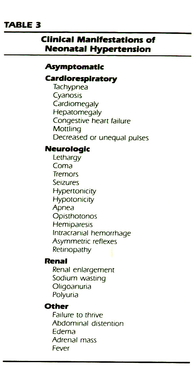 TABLE 3Clinical Manifestations of Neonatal Hypertension