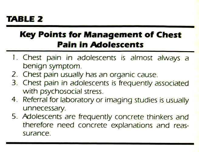 TABLE 2Key Points for Management of Chest Pain in Adolescents