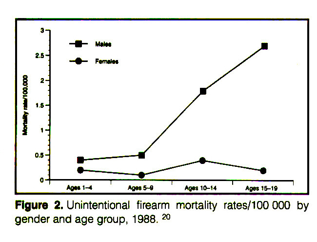 Figure 2. Unintentional firearm mortality rates/100000 by gender and age group, 1988. a