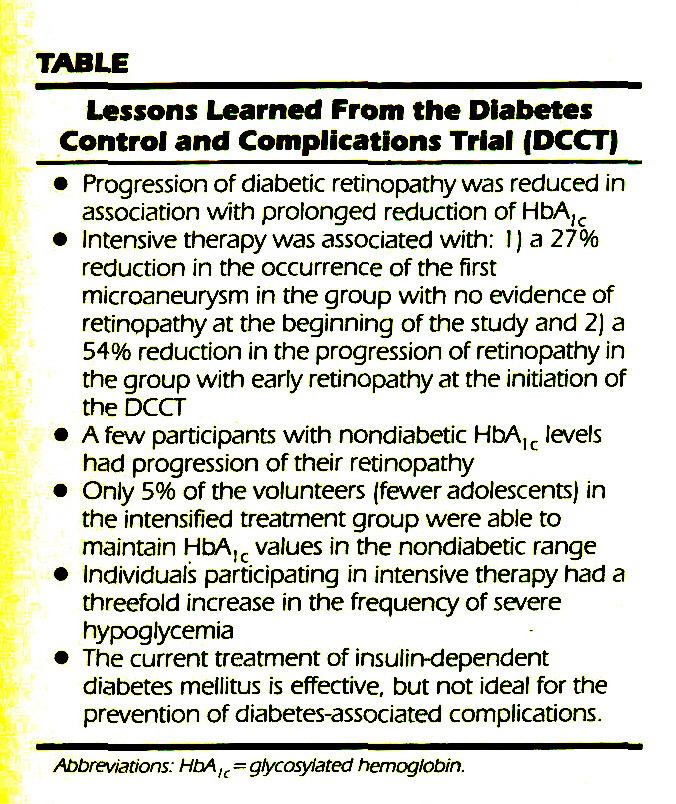 TABLELessons Learned From the Diabetes Control and Complications Trial (DCCT)