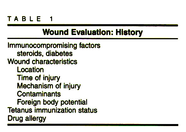 TABLE 1Wound Evaluation: History