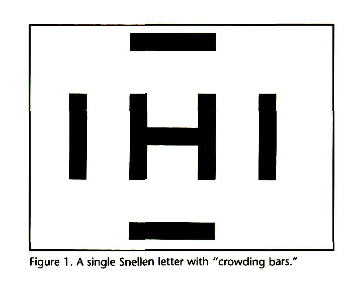 """Figure 1. A single Snellen letter with """"crowding bars."""""""