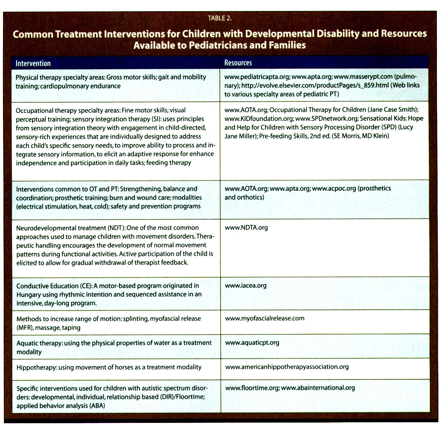 TABLE 2.Common Treatment Interventions for Children with Developmental Disability and Resources Available to Pediatricians and Families