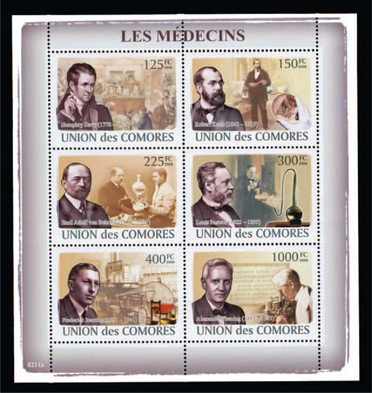 This Stamp Honors Six of the Most Famous Physicians in History. Stamp from the Collection of Dr. Shulman.