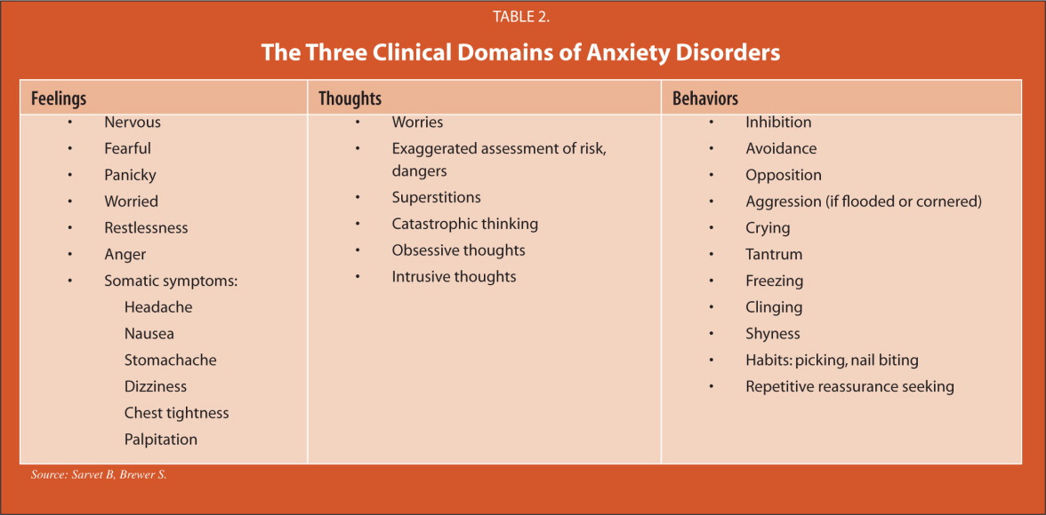 The Three Clinical Domains of Anxiety Disorders