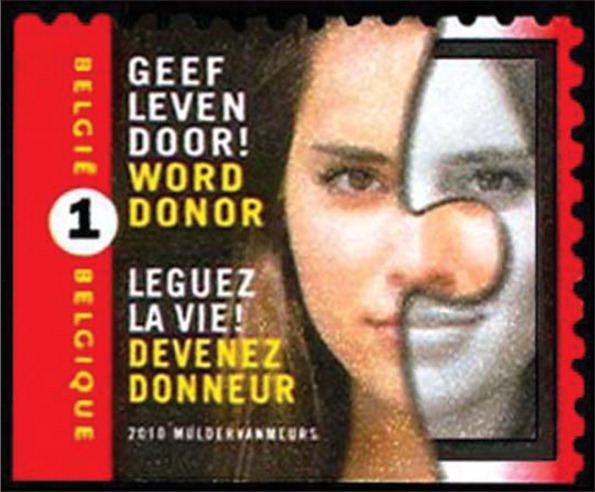 "This Belgian stamp honors organ donors. (""Leguez la vie! Devenez donneur"" translates to ""Bequeath life! Become a donor."")All images courtesy of Stanford T. Shulman, MD, with permission."