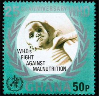 The green stamp from Ghana was issued for the 25th anniversary of the World Health Organization in 1973. From the collection of Dr. Shulman, with permission.