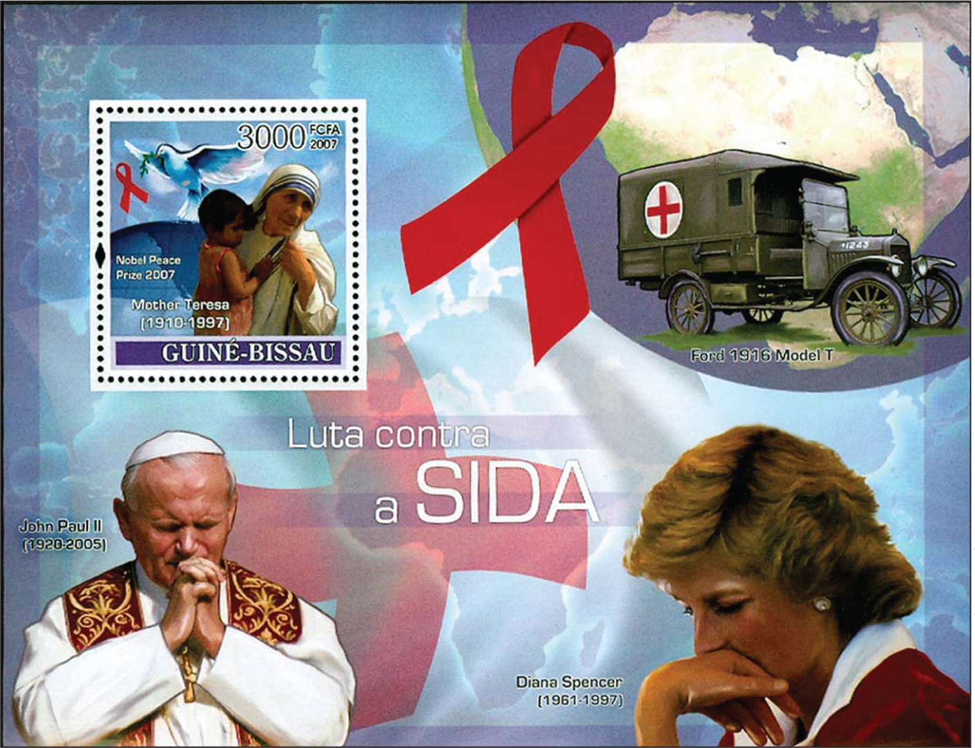 Souvenir sheet from Guine-Bissau portrays a child with the late Mother Teresa (1910–1997), Princess Diana (1961–1997), and Pope John Paul II (1920–2005), along with a 1916 Ford Model A medical vehicle.All images courtesy of Stanford T. Shulman, MD. Reprinted with permission.