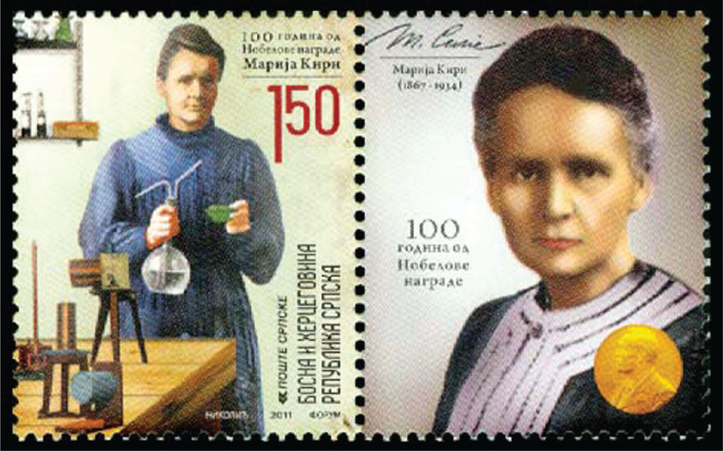 Stamp released in 2011 by Bosnia and Herzegovina to honor Marie Curie and the International Year of Chemistry.