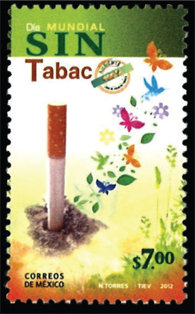 "Mexican anti-smoking stamp honors ""Dia Mundial sin Tabac,"" or World Day without Tobacco, in 2012.All images courtesy of Stanforl T. Shulman, MD."