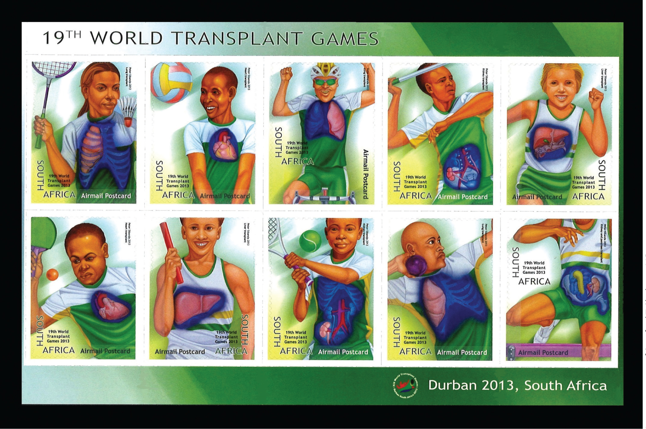 Set of stamps issued by South Africa to celebrate the 19th World Transplant Games, held from July 28 to Aug. 4, 2013, in Durban, South Africa.Image courtesy of Stanford T. Shulman, MD.
