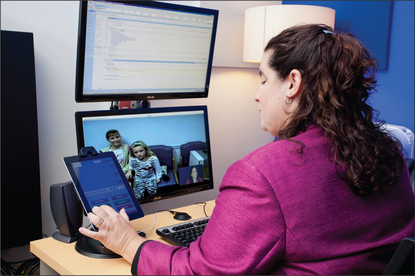 An example of standards-based videoteleconferencing.Images courtesy of Felissa Goldstein, MD, FAPA.