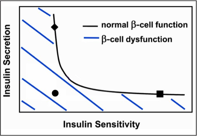 Insulin secretion relative to insulin sensitivity. The black square indicates low insulin levels are adequate for maintenance of glucose tolerance if the insulin sensitivity is high. The black diamond indicates appropriately high insulin secretion maintains glucose tolerance even when insulin sensitivity is low (insulin resistance). The black circle indicates inappropriately low insulin secretion in the presence of low insulin sensitivity (insulin resistance) leads to glucose intolerance.