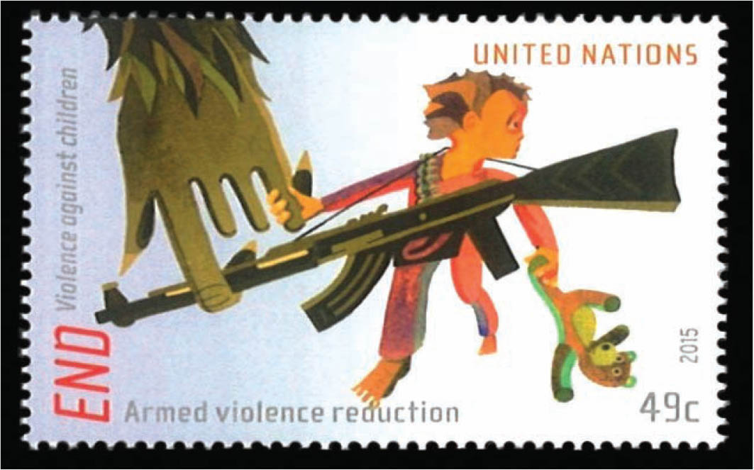 A stamp illustrating armed (gun) violence against children.