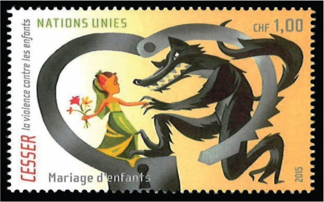 A stamp illustrating child marriage.