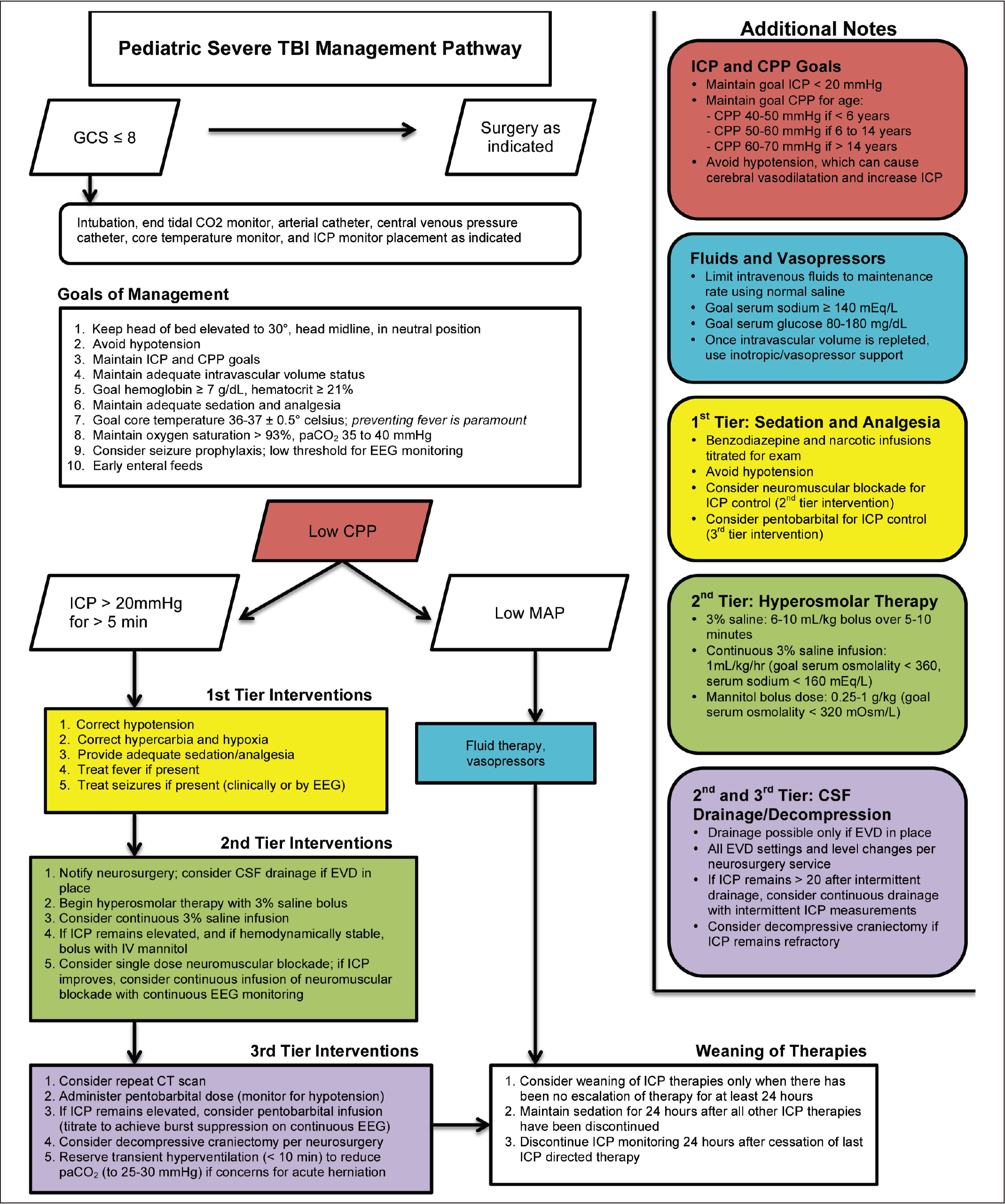 Clinical pathway for the management of severe pediatric traumatic brain injury. CPP, cerebral perfusion pressure; CSF, cerebrospinal fluid; CT, computed tomography; EEG, electroencephalogram; EVD, external ventricular drain; ICP, intracranial pressure; IV, intravenous; GCS, Glasgow Coma Scale; MAP, mean arterial pressure; TBI, traumatic brain injury.