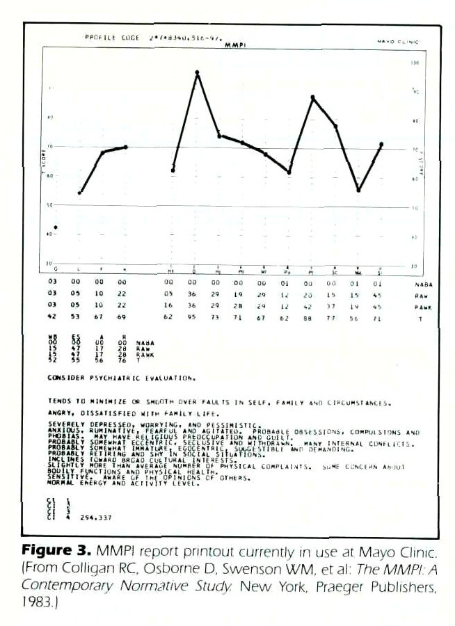 Figure 3. MMPI report printout currently in use ai Mayo Clinic. (From Colligan RC. Osborne D. Swenson WM. et al: The MMPI A Contemporary Normative Study. New York. Praeger Publishers, 1983.)