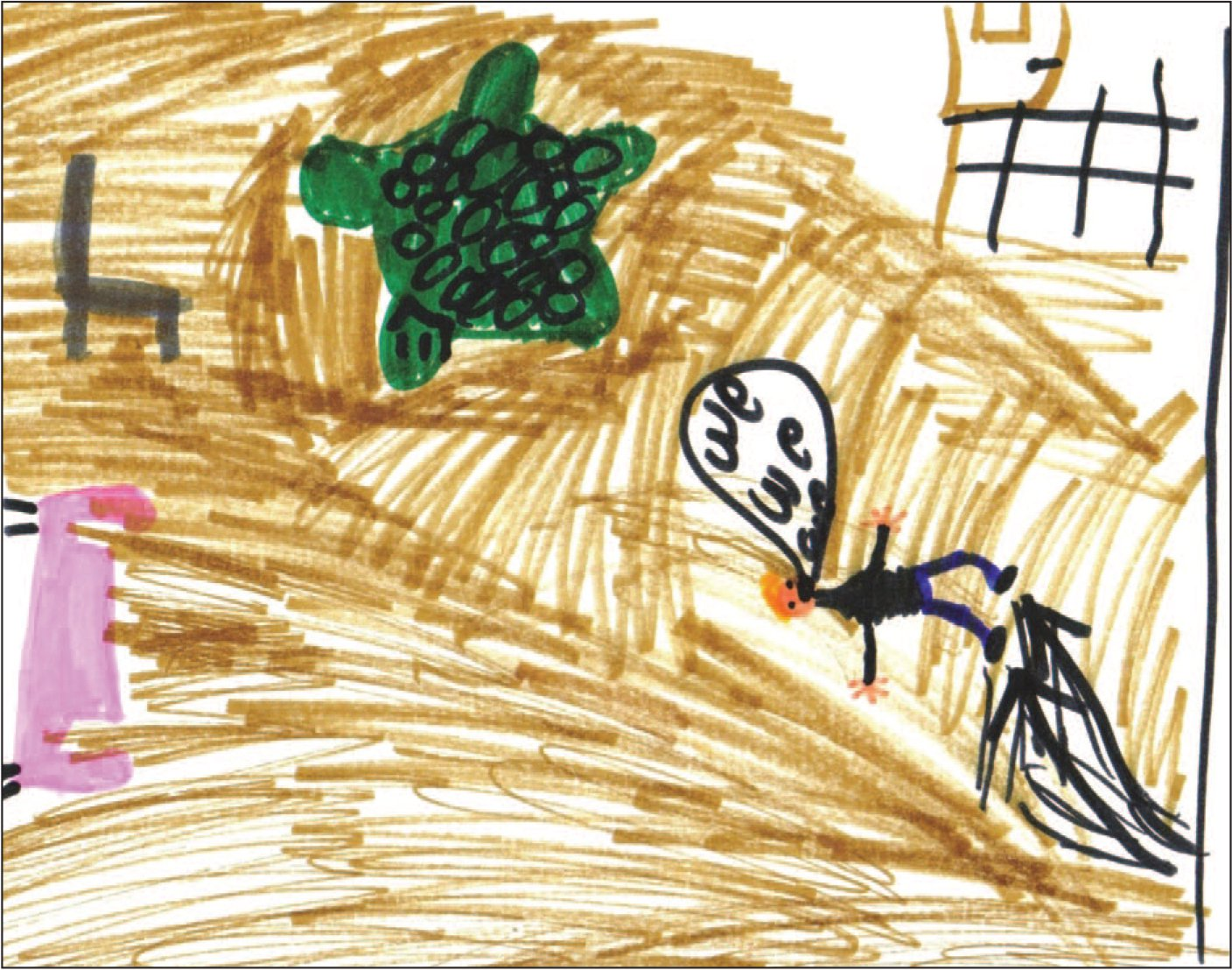 """Sam's artwork illustrates his feeling of """"bouncing off the walls"""" and not listening, behavior indicative of his regression to age 3, the age at which his injuries occurred."""