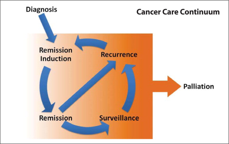The cancer care continuum does not follow a linear model. Depending on the biological severity of the cancer, patient preferences, and provider recommendations, individuals will move in different sequences along the pathway. Specific psychological factors should be addressed in keeping with the phase on the cancer care continuum. Source: Trinidad AC, Kohrt BA, Norris L.