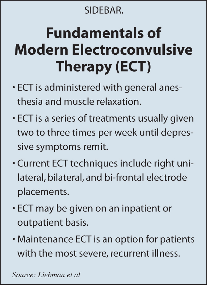 an introduction to the treatment of depression with electroconvulsive therapy Electroconvulsive therapy (ect) electroconvulsive therapy (ect), referred to as shock therapy, is form a treatment for depression and mental illnessduring the procedure, patients are placed under general anesthesia and undergo a series of electric currents that are passed through the brain.