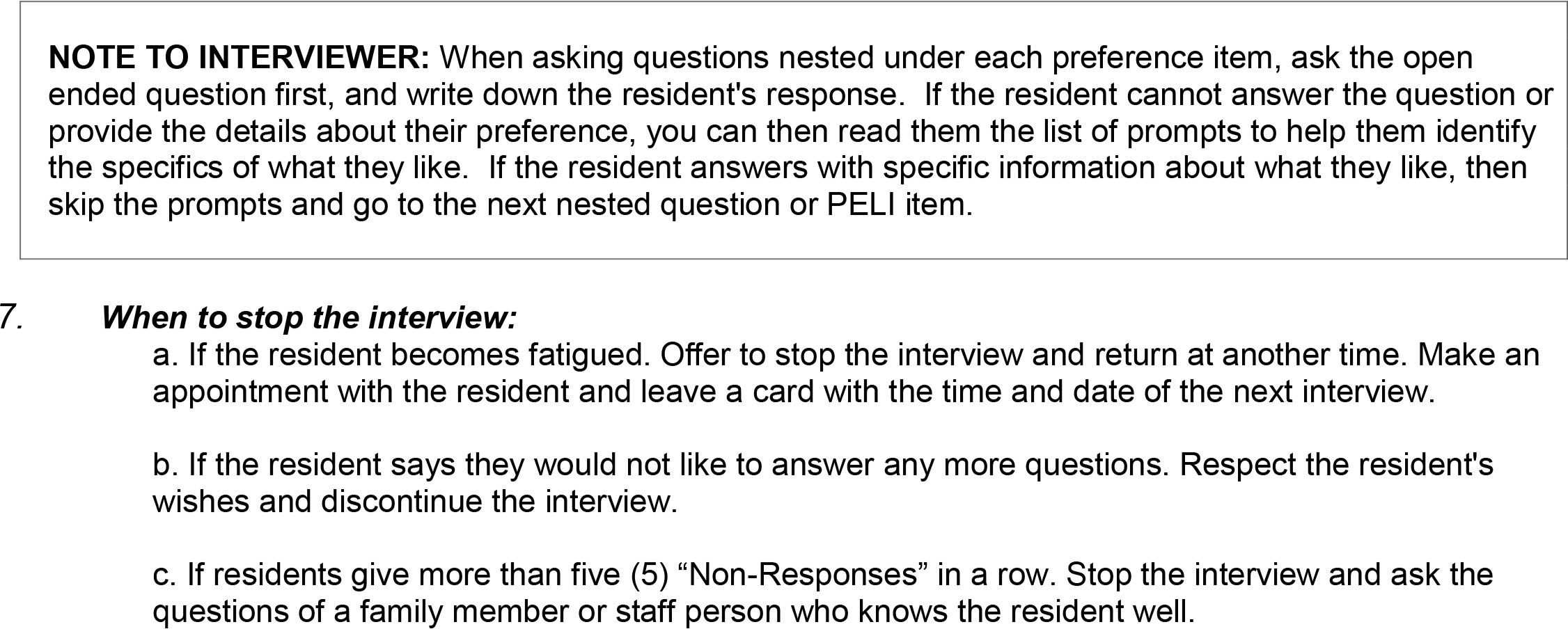cognitive interviewing revising the preferences for everyday preferences for everyday living inventory nursing home version peli nh