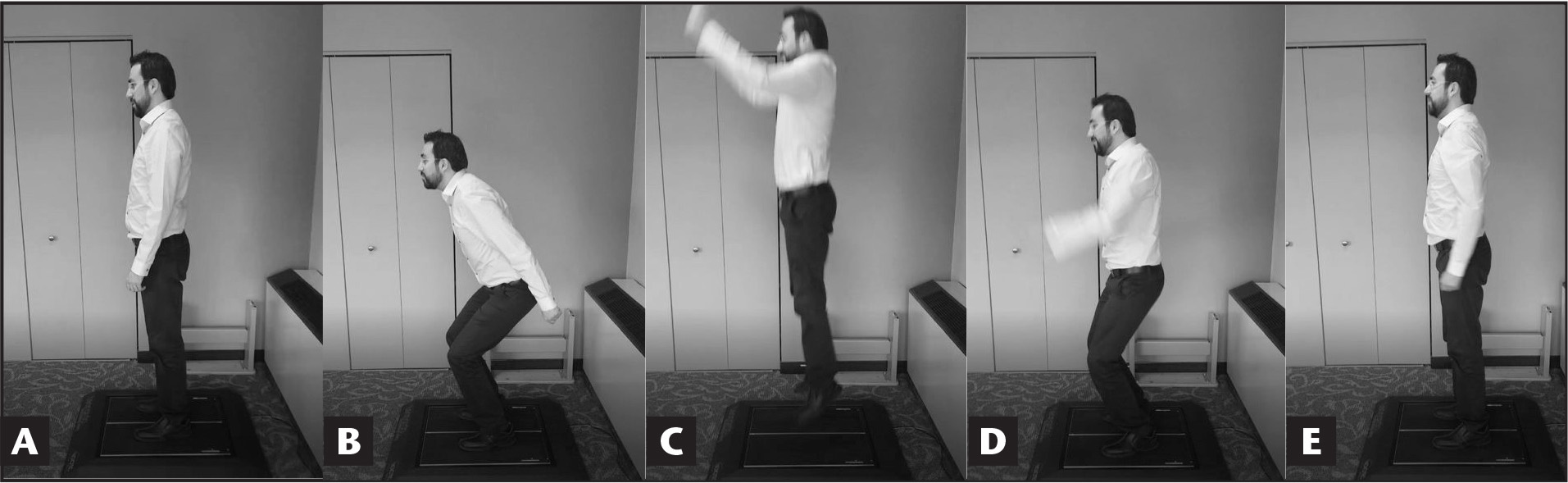 Sequence of a countermovement jump: (A) before the jump, the participant stands in an upright position on the force platform as still as possible; (B) the participant squats as quickly as possible before the jump; (C) the participant jumps as high as possible; (D) the participant begins the smooth landing stage; and (E) the participant stands up straight and as still as possible.