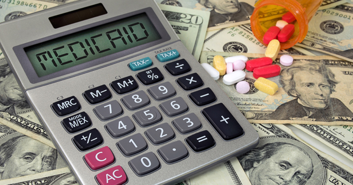 calculator that says Medicaid on top of money